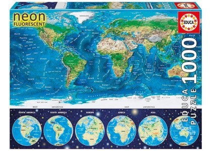 Neon World Map 1000 elementów Puzzle Educa 16760